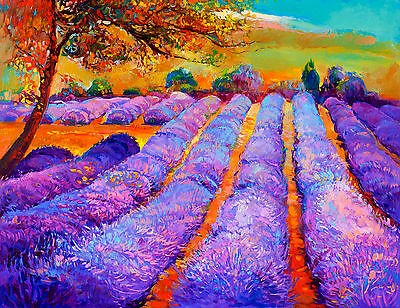 "art painting  print purple blue modern abstract australia landscape 24"" x 20"""