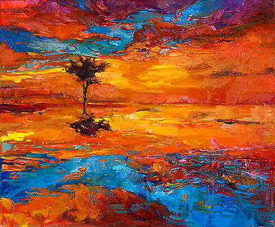 "art painting  print purple blue modern abstract landscape sunset 24"" Australia"