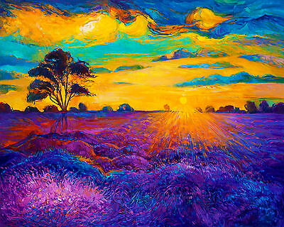art painting  print purple blue modern abstract australian  landscape  24""