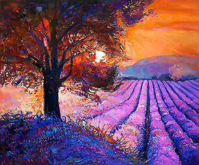 art painting  print australia modern sunset large tree  landscape  poster canvas