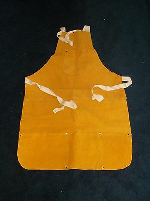 Double Stitched Split Leather Welding Apron With Pockets & Adjustable Tie Strap