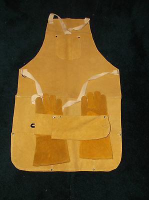 3 Piece Welder's Leather Double Stitched Combo Set Inc Gloves Apron & Rod Holder