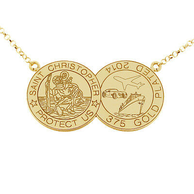 9Ct Gold Plated Double Disc St Christopher Pendant Chain & Engraving Options