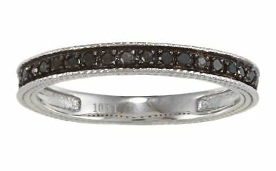 White Gold 1/4 TDW Vintage Style Pave Black Diamond Band (G-H, I1-I2)