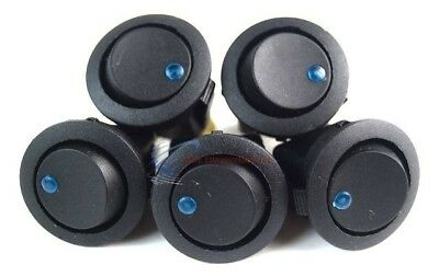 Audiopipe Black Round Rocker Switch with Blue LED 3 Prong  CAR SPST TOGGLE 5 PC