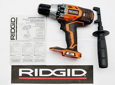 "NEW RIDGID 18v VOLT LITHIUM-ION COMPACT 1/2"" INCH CORDLESS HAMMER DRILL"