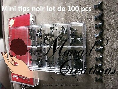 kit 100 pcs Bouts Tips NOIR Capsule Mini French Ongles Faux Nail Art BLACK