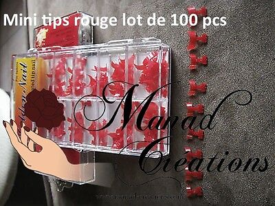kit 100 pcs Bout Tips ROUGE Capsule Mini French Ongle Faux Nail Art RED lot
