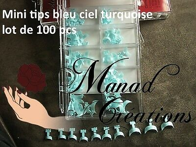 kit 100 pcs Bout Tips bleu ciel  Capsules Mini French Ongle Faux Nail Art  lot