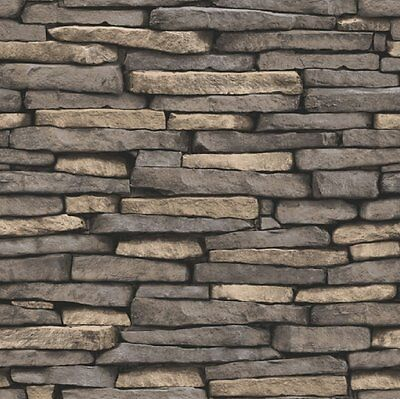 Grey Natural Weatherd Slate Brick Stone Wall Feature Designer Wallpaper Fd31293