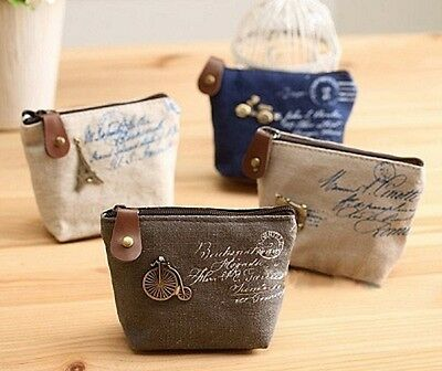 New Retro Canvas Purse Coin Wallet Cosmetic Case Pouch
