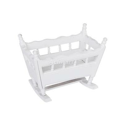 1/12 Dolls House White Wooden Furniture Baby Crib Bed Nursery Cradle Miniature