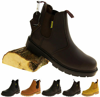 Mens Leather Rugged Tough Safety Steel Toe Cap Work Industrial Plant Site Boots