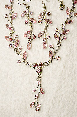 vintage style new jewelry set pink matching crystal necklace earrings silver to