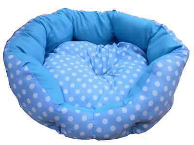New Small Soft Blue & White Spotty Dog Puppy Pet Cat Bed Basket Now Only £4.99!!