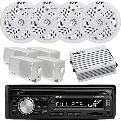 New KMR-D372 Marine CD/USB iPod Stereo 8 White Speakers, 800W Amp+ Wired Remote