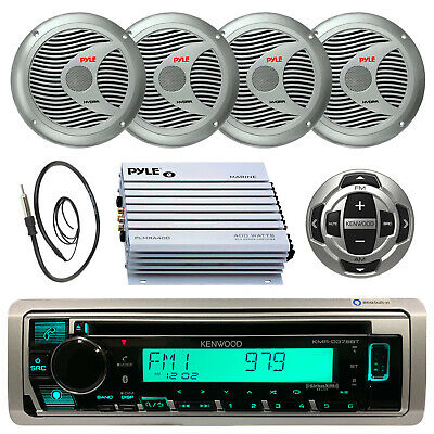 Marine Kenwood  CD MP3 Pandora Unit Wired Remote,Amp,Antenna 4x Silver Speakers