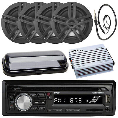 "Kenwood Marine AUX USB CD Player w/6.5"" White Speakers, 800W Amp, Antenna, Cover"
