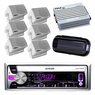 New Boat CD Radio AUX USB iPhone Receiver, 6 White Box Speakers, 400W Amp, Cover