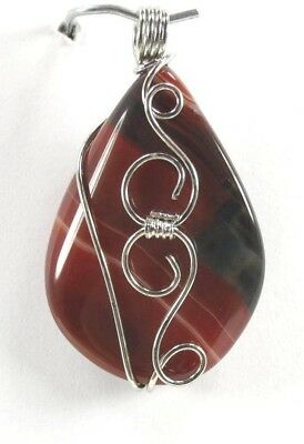P+0170, 45x26x10 mm Silver Wire Wrap Red Onyx Agate Ladies fashion Pendant Bead
