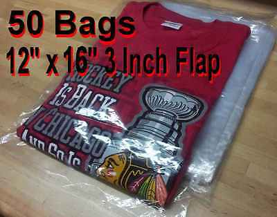 """50 - 12"""" x 16"""" Clear Poly T- Shirt Plastic Apparel Bags 3"""" Flap **BEST QUALITY**"""