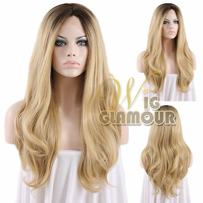 "Long Curly 20""-28"" Brown Mixed Blonde Ombre Lace Front Wig Heat Resistant"