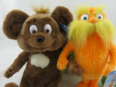 set of 2 Dr. Seuss The Lorax Plush Toy Baby Gift New