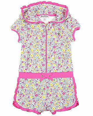 Juicy Couture Girl's Floral Print Hooded Romper, Sizes 4, 5, 6, 6X