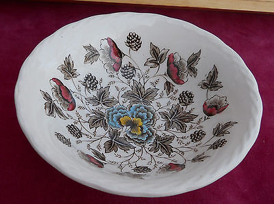 W H GRINDLEY OLD CHELSEA SOUP CEREAL BOWL S IRONSTONE TRANSFERWARE MULTICOLOR