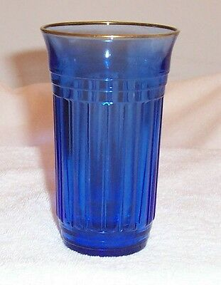 """New Century Cobalt Blue W/ Gold Trim 5"""" - 10 Ounce Tumbler With Recessed Bottom"""