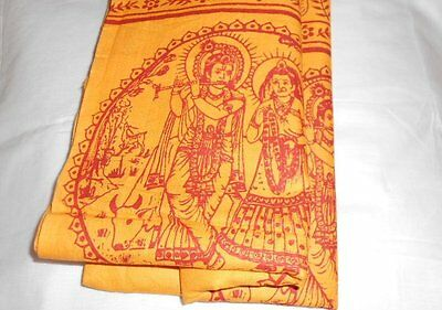 Hindu Orange Religious Shawl Throw Wrap Prayers Hare Rama Krishna Mantras Yoga