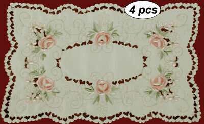 "Spring Embroidered Pink Rose Daisy Floral Placemat Tray Cloth 11x17"" #3868 Doily"