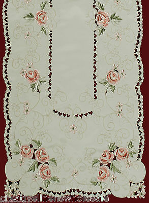 """Spring Embroidered Pink Rose Daisy Floral Table Runner Cloth 15x52"""" #3868 Doily"""