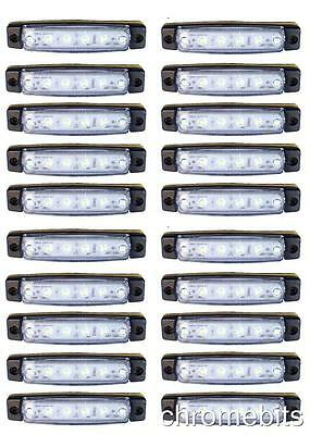 20 pcs 24V 6SMD LED FRONT WHITE CLEAR SIDE MARKER LIGHT LAMP TRUCK TRAILER LORRY