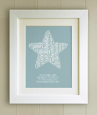 PERSONALISED New Baby/Birth FRAMED PRINT, Boy/Girl, Fab Word Cloud Picture Gift