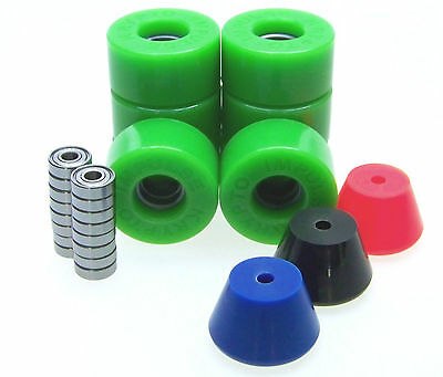 Kryptonics Impulse 62mm Rollerskate Wheels ABEC 5 7 9 Bearings  Breakpads GREEN