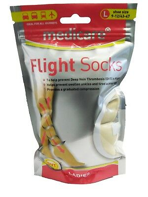 Medicare LADIES Flight Socks Prevents Deep Vein Thrombosis DVT Size LARGE NEW