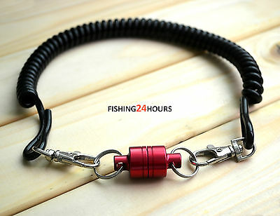 Powerful Magnetic Net Release Keeper Holder for Fly Fishing w. Lanyard Red NEW