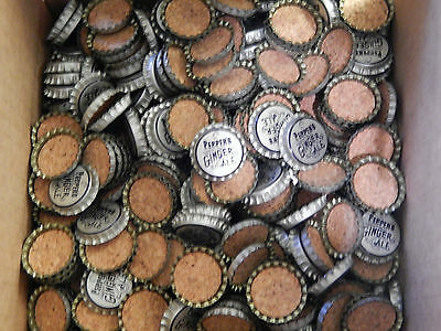 Lot of 100 Pepper's Ginger Ale Bottle Caps, MINT, Cork Lined and Uncrimped