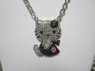 New X Large Hello Kitty Pink Crystal Black Crystal Bow & Dress Silver Necklace