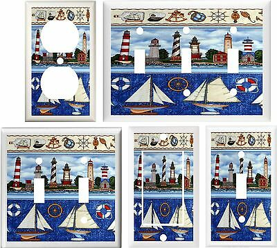 LIGHTHOUSES SAILBOATS LIFE SAVER NAUTICAL LIGHT SWITCH OR OUTLET COVER V107