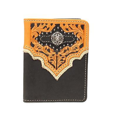 Nocona Western Mens Wallet Leather Trifold Overlay Concho Tan N5494008