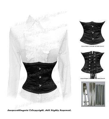 Heavy Duty Double Steel Boned Waist Cincher Tight Lacing Waspie Underbust Corset