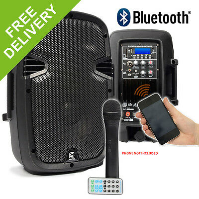"""Battery FULLY WIRELESS PA System Portable 8"""" Active Bluetooth Speaker DJ 350W"""