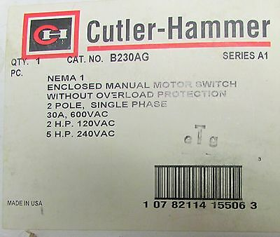 EATON CUTLER HAMMER B230AG Enclosed Manual Motor Starter