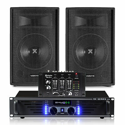 """2x Skytec 12"""" PA Party Speakers + Amplifier + DJ Mixer + Cables System 1200W"""