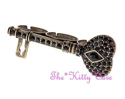 Unusual Vintage style Gold 3 Finger Black Key Knuckle Ring w/ Swarovski Crystals