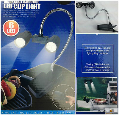 Adjustable BBQ LED CLIP ON LIGHT Flexible Barbeque Barbecue Bright Reading New