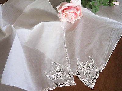 Four Lovely Hand Butterfly Embroidery Hemstitch Cotton White Napkins