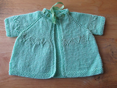 Vintage Infant's Knit Sweater/Sacque w/Green Ribbon for Tie (DS123)